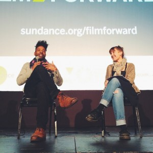 Filmmaker Kat Candler interviewing Malik Vitthal about his film, #ImperialDreams.…