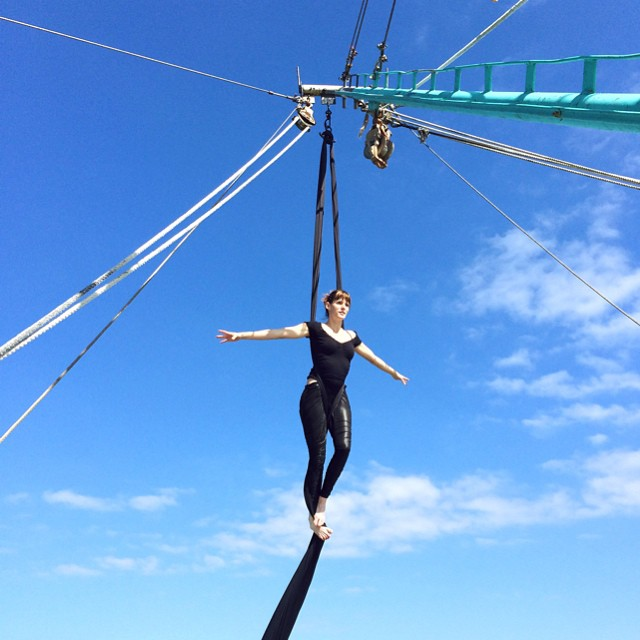 Yesterday I met Amanda, an environmental activist putting together an event to help clean Lavaca Bay in the #TexasGulf (it's polluted from the local factories). Here she is doing aerial silks on a shrimp boat as part of a a video for the event's crowd sourcing campaign. She's a beautiful soul doing beautiful things. http://www.rockethub.com/projects/52068-wiv-luv-water-fest-with-the-texas-oystermen #savethebay #savetheplanet