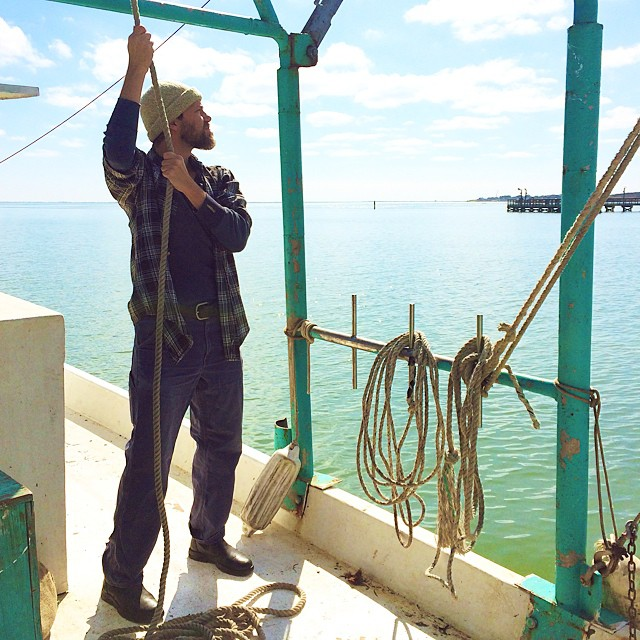 Today my boyfriend is pretending to catch shrimp on a shrimp boat. He knows how to keep the magic alive. #indiefilm