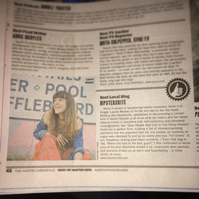 "Hipstercrite was voted ""Best Local Blog"" in @AustinChronicle's Best of 2015! I can't believe it!"