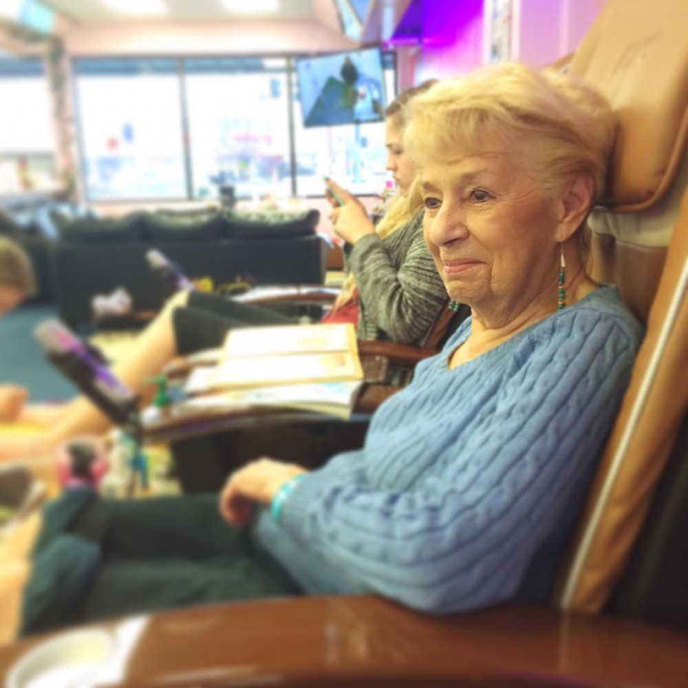 A year ago this month, Grandma was told she had cancer. Now she's cancer-free, 89 years old and going pretty strong. Today we enjoyed a grandma-granddaughter pedicure.