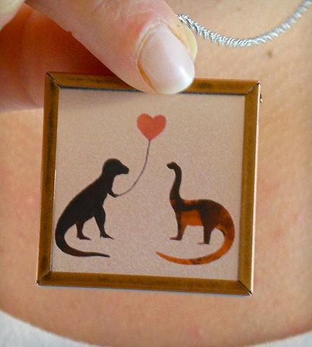 Dinosaur love necklace