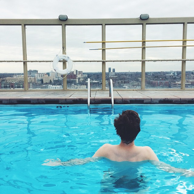 Morning swim on top of the @WarwickDenver, the former home of #Denver's Playboy Club. A fantastic downtown hotel that is super affordable (a little over $100/night).