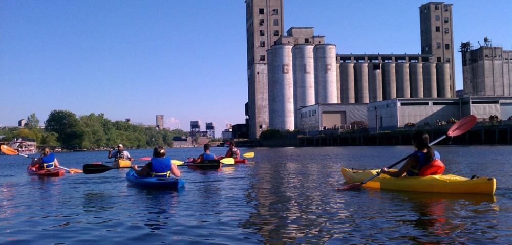 kayaking grain silos Buffalo