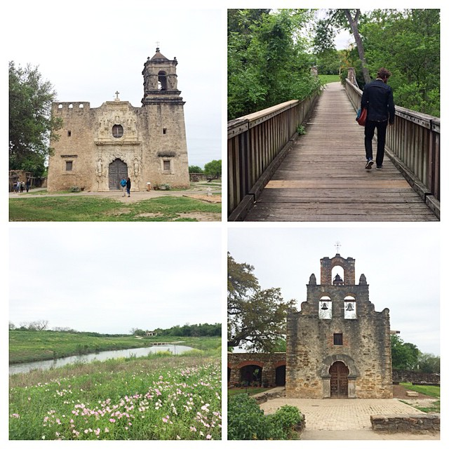 San Antonio's Missions Hike & Bike Trail along the San Antonio River is probably one of the best trails I've ever been on. It is a beautifully paved & groomed path that is suitable for all ages and abilities. This 16-mile roundtrip trail takes you to four of San Antonio's missions, and you can continue on to the Alamo if you'd like. You walk next to countless wildflowers, old ruins and happy people on the trail, and the missions are just incredible! If you've never done the trail, do it! It's truly a Texas gem.